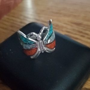 Beautiful silver butterfly ring.